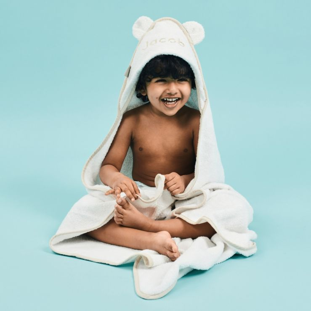 Personalised Large Ivory Hooded Bath Towel