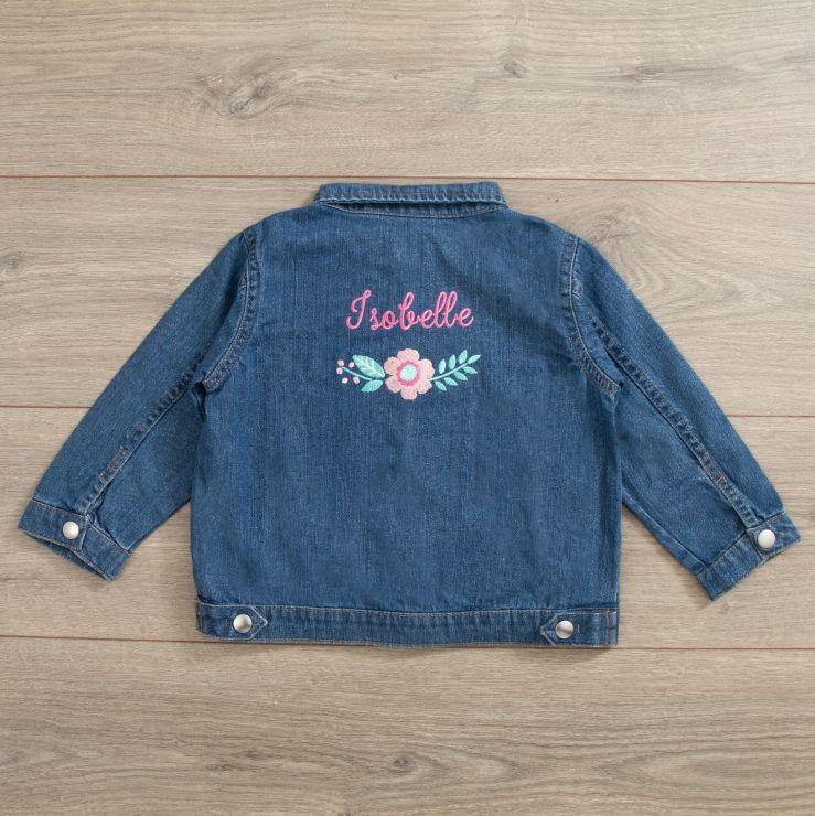 Personalised Floral Design Denim Jacket