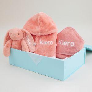 Personalised Coral Splash, Snuggle & Cuddle Gift Set