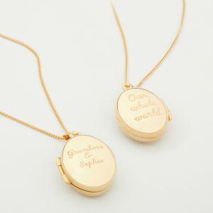 Personalised Gold Baby & Me Locket Gift Set