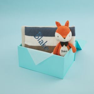Personalized Mr Fox Stuffed Animal and Blanket Gift Set