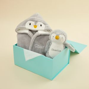 Personalized Goodnight Penguin Robe and Stuffed Animal Gift Set