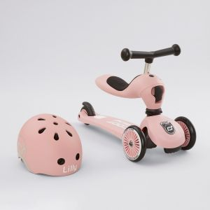 Personalised Scoot and Ride Pink Highway Kick 1 Scooter & Helmet Gift Set