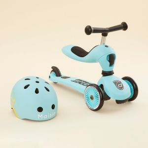Personalised Scoot and Ride Blue Highway Kick 1 Scooter & Helmet Gift Set