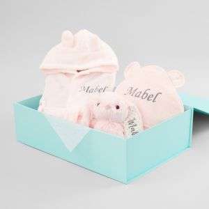 Personalized Pink Splash, Snuggle & Cuddle Gift Set