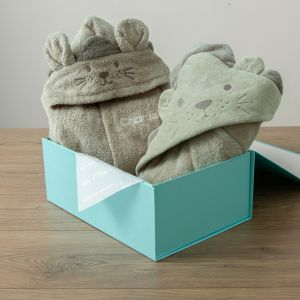 Personalized Taupe Lion Splash & Snuggle Gift Set