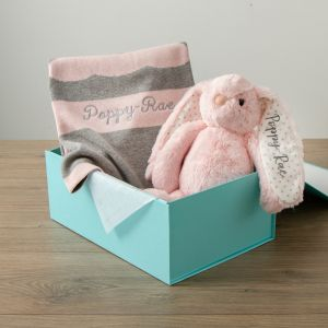 Personalized Pink Bunny Blanket Gift Set new Image
