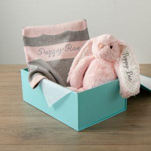 Personalised Pink Bunny Blanket Gift Set new Image