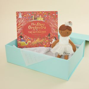 Personalized Nutcracker Musical Story Book and Brown Hair Ballerina Doll Gift Set