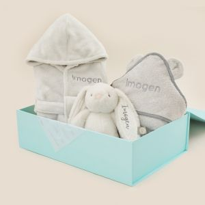 Personalised Grey Splash, Snuggle & Cuddle Gift Set