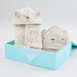 Personalised Bear Towelling Splash & Snuggle Gift Set