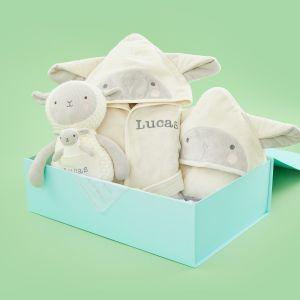 Personalised Little Lamb Splash, Snuggle & Cuddle Gift Set