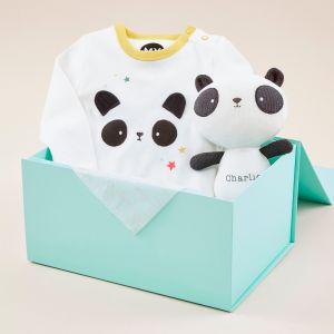 Personalised Panda Sleepsuit and Soft Toy Baby Gift Set