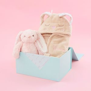 Personalised Little Bunny Soft Toy and Robe Gift Set -  Pink Bunny Option