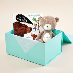 Personalised Hello! Mrs Bear Board Book and Knitted Bear Soft Toy Gift Set