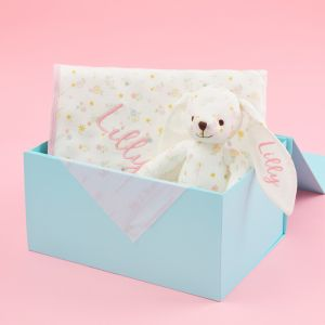 Personalised Floral Print Bunny & Blanket Organic Baby Gift Set