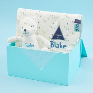 Personalised Forest Print Bear & Blanket Organic Baby Gift Set