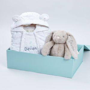 Personalised Baby Bear Snowsuit Gift Set