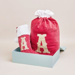 Personalised Red Embossed Stocking and Sack Set