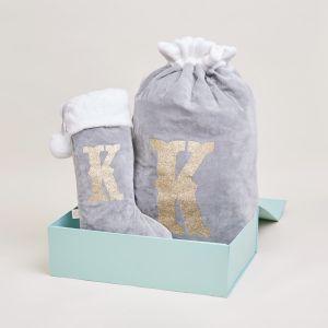 Personalised Grey Embossed Stocking and Sack Set