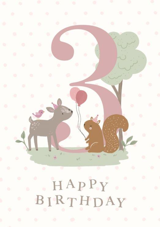 Personalised Woodland Design 3rd Birthday Card