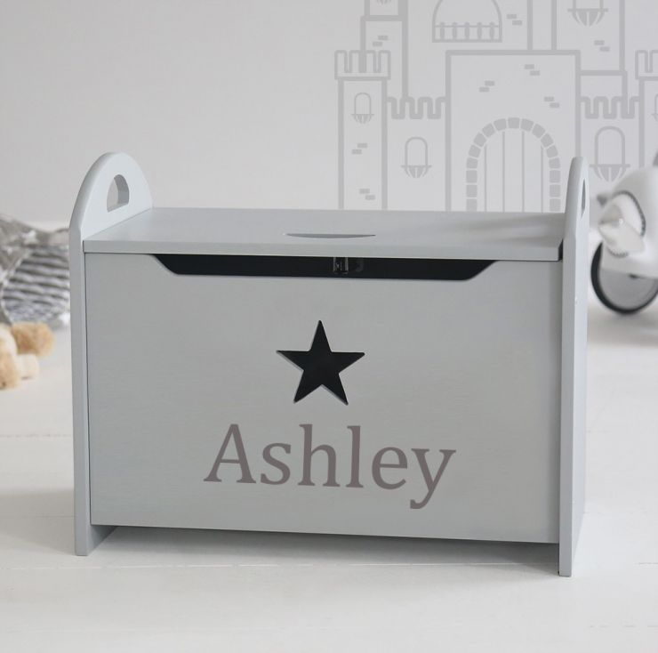 Personalised Grey Star Toy Box