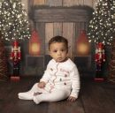 Personalized Embroidered Christmas Print Organic Sleepsuit Model 2