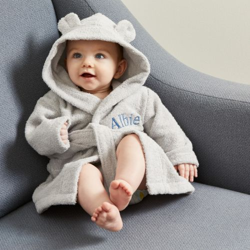 Personalized Gray Hooded Towelling Robe