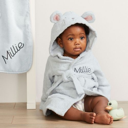 Personalized Gray Mouse Towelling Robe Flat View