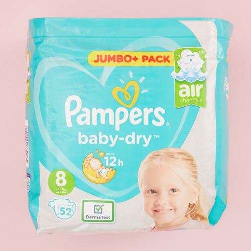 Pampers Size 8 Baby Dry Nappies (Jumbo Pack 52s)