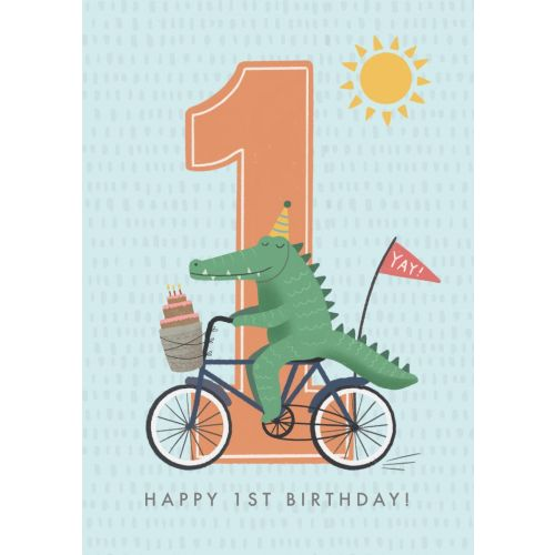 Personalized Crocodile Design 1st Birthday Card