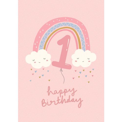 Personalized Rainbow Design 1st Birthday Card