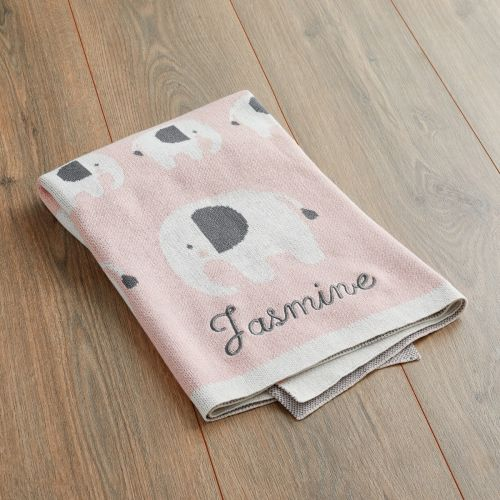 Personalised Pink Elephant Knitted Intarsia Blanket Folded