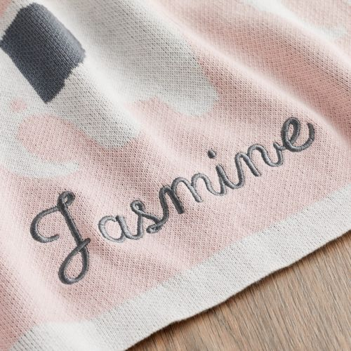 Personalized Pink Elephant Knitted Intarsia Blanket