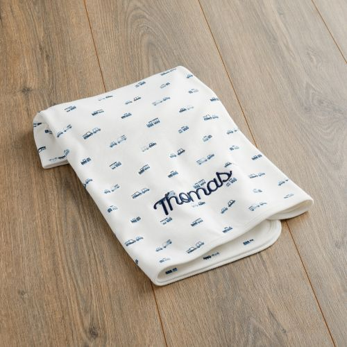 Personalized Transport Print Organic Jersey Blanket