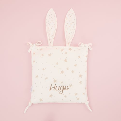 Personalised Star Print Cot Tidy with Bunny Ears