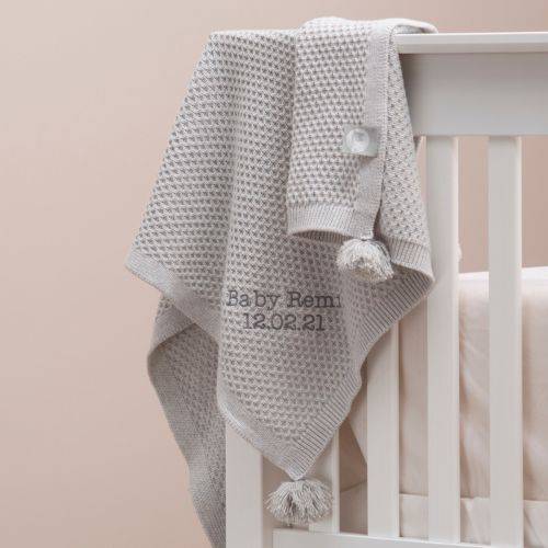 Personalized Gray Cashmere Blend Baby Blanket with Pom Poms