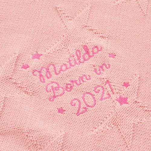 Personalized 'Born in 2021' Pink Star Jacquard Baby Blanket