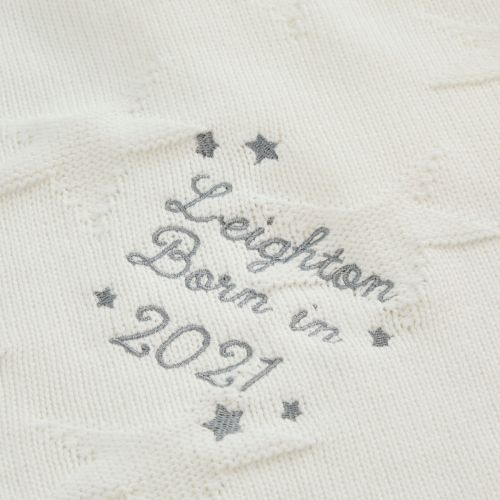 Personalized 'Born in 2021' Ivory Star Jacquard Baby Blanket
