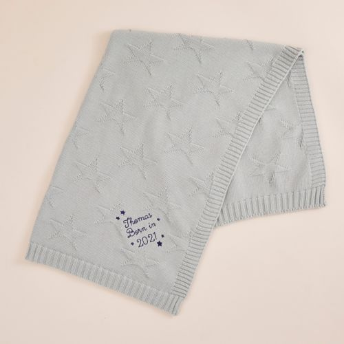 Personalised 'Born in 2021' Blue Star Jacquard Baby Blanket