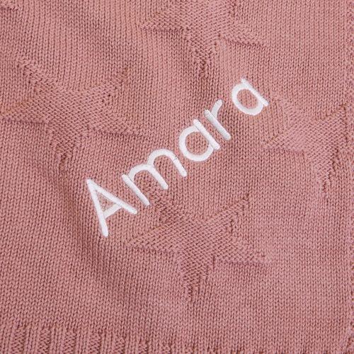 Personalised Dark Pink Jacquard Star Blanket