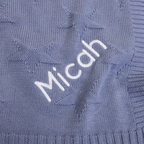 Personalised Dark Blue Jacquard Star Blanket