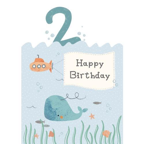 Personalised Whale Design 2nd Birthday Card