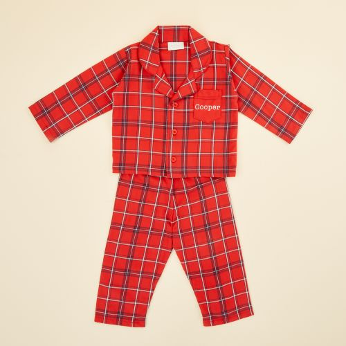 Personalised Traditional Red Check Pyjamas