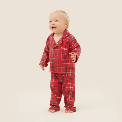 Personalised Traditional Red Check Pyjamas Model