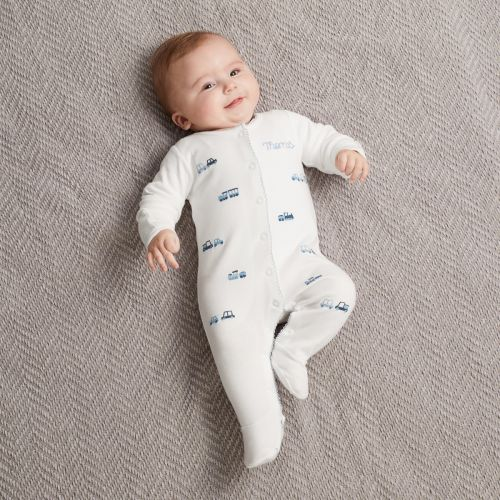 Personalized Embroidered Transport Organic Sleepsuit