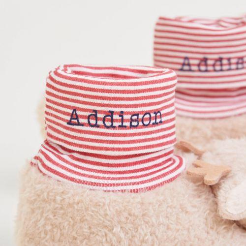 Personalised Reindeer Sock Top Slippers with Rattle