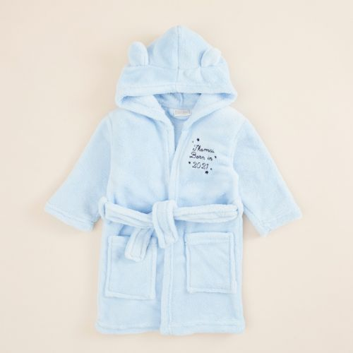 Personalised 'Born in 2021' Blue Fleece Robe