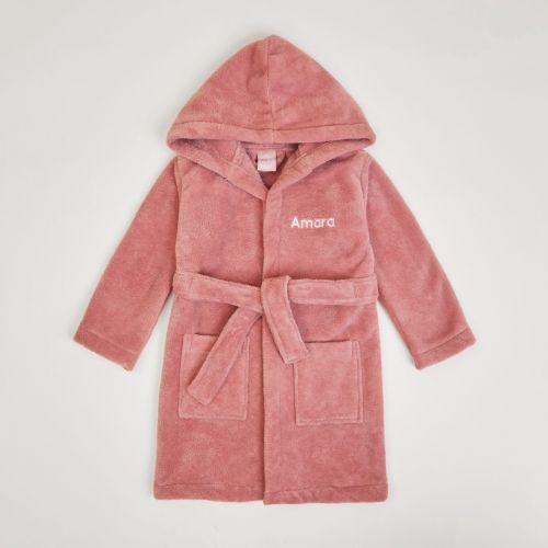 Personalised Dark Pink Hooded Fleece Dressing Gown