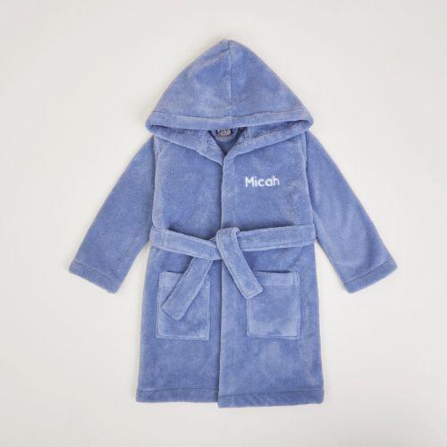 Personalised Dark Blue Hooded Fleece Dressing Gown